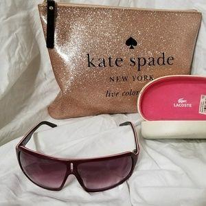 acae7bc60494 Lacoste Accessories - LACOSTE Burgundy   Pink Alligator Sunglasses Case
